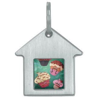 Magical Emporium of Flying Mustached Cupcakes Pet ID Tags