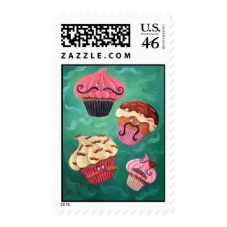Magical Emporium of Flying Mustached Cupcakes Postage Stamp