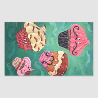 Magical Emporium of Flying Mustached Cupcakes Rectangular Sticker