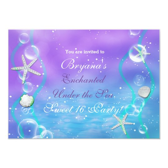 magical enchanted under the sea party invitation zazzle com