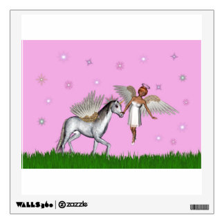Magical fairy and unicorn in a green field wall sticker