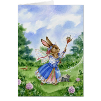Magical Fairy Princess Easter Bunny greeting card