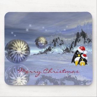 magical fantasy christmas mousepad with penguins