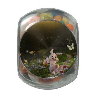 Magical Fantasy Easter Bunny Scene Glass Jars