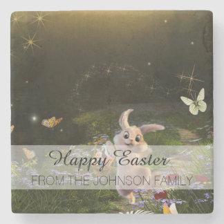Magical Fantasy Easter Bunny Scene Stone Coaster