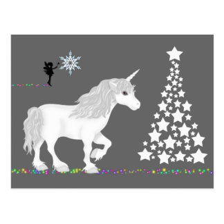 Magical Fantasy Unicorn, Fairy and Christmas Tree Postcard