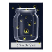 magical fireflies mason jar wedding save the date card