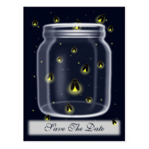 magical fireflies mason jar wedding save the date postcard