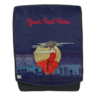 Magical Floating Lady Night City Skyline Moon Backpack