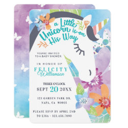 Magical Floral Unicorn Baby Boy Shower Invitation