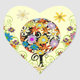 Magical Forest Circle of Love Flower Tree Wedding Heart Sticker