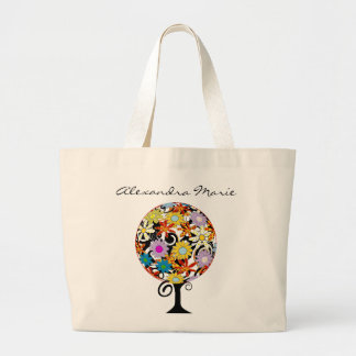 Magical Forest Circle of Love Flower Tree Wedding Large Tote Bag