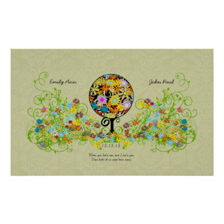 Magical Forest Circle of Love Flower Tree Wedding Poster