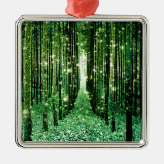 Magical Forest Green Mystery Metal Ornament
