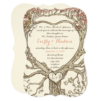 Magical Forest Heart Shaped Tree Initials in Trunk Card