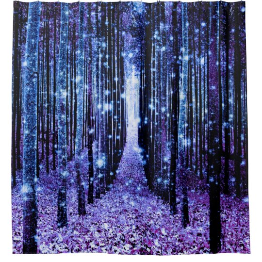 Magical Forest Path Purple Blue Shower Curtain