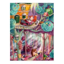 artsprojekt, forest, fox, bear, forest illustration, magical forest, fox illustrator, children illustration, forest animal, animal, kids illustration, fairy tale, colorful forest, illustrator, cute animals, green monster, Cartão postal com design gráfico personalizado