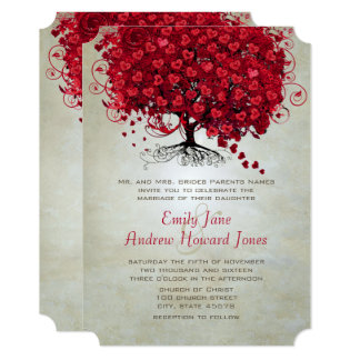 Magical Forest Red Heart Leaf Tree Wedding Invite