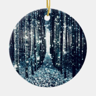 Magical Forest Teal Gray Elegance Ceramic Ornament