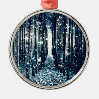 Magical Forest Teal Gray Elegance Metal Ornament