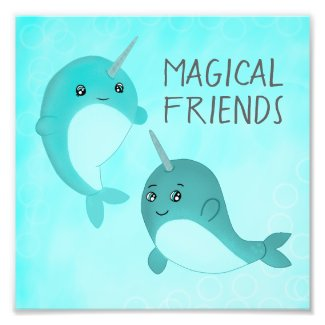 Magical Friends the Narwhals Photo Print