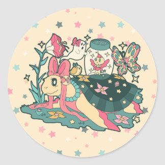 Magical Girl Turtle Round Stickers