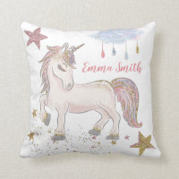 Magical Glitter Unicorn Stars Monogram Name Throw Pillow