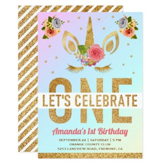 Magical Gold Glitter Unicorn 1st Birthday Party Invitation