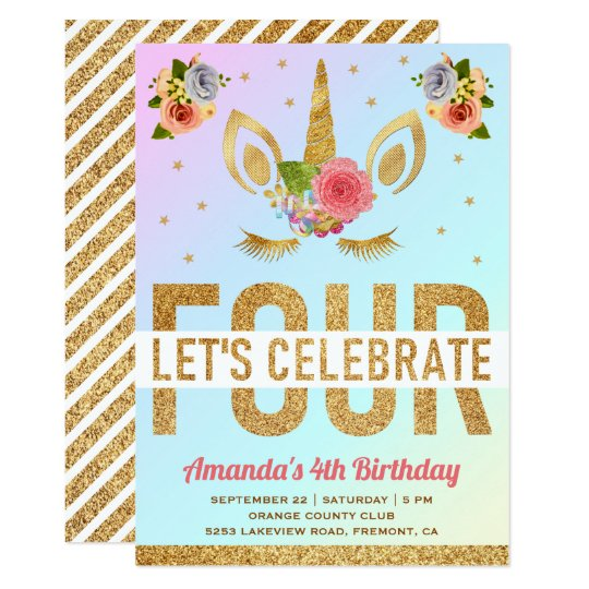 Magical Gold Glitter Unicorn 4th Birthday Party Invitation