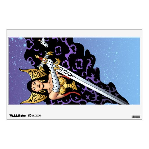 Magical Gothic Queen with Huge Sword by Al Rio Wall Decal