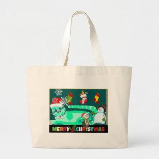 Magical Green Kitty Santa Tote Bag