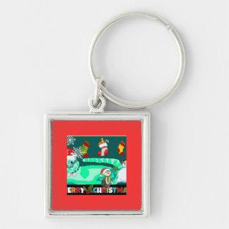 Magical Green Kitty Santa Keychain
