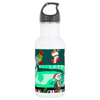 Magical Green Kitty Santa Stainless Steel Water Bottle
