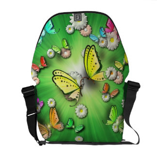 Magical Green Swallowtails and Daisys in 3D Ricksh Courier Bag