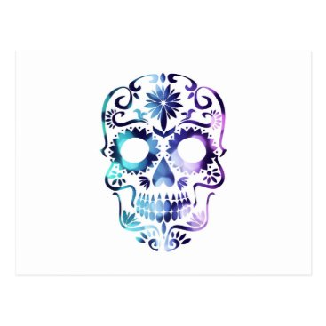 Halloween Themed MAGICAL GYPSY SUGAR SKULL PRINT BLUE PURPLE HAZE POSTCARD