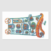 artsprojekt, house, house on wheels, magical house, gaudi, cute cretures, car, magical cars, cartoon house, illustration, cart, Sticker with custom graphic design