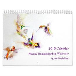 Magical Hummingbirds in Watercolor 2018 Calendar