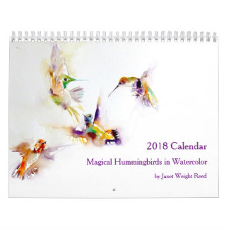 Magical Hummingbirds in Watercolor 2018 Calendar
