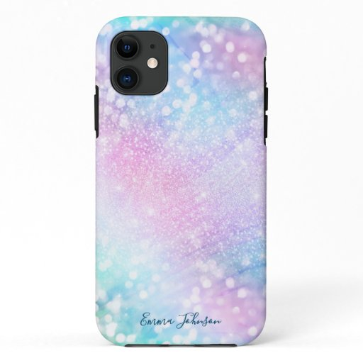 Magical Iridescent Glitter Sparkles Pink Design iPhone 11 Case