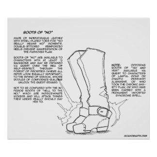 """Magical Item: Boots of """"No"""" Poster"""
