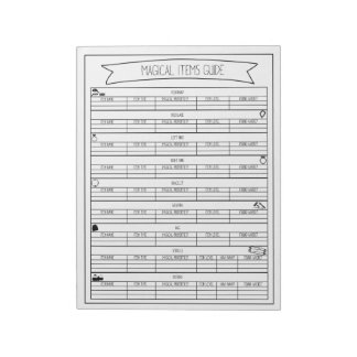 Magical Items Guide Sheets Notepad