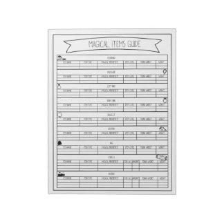 Magical Items Guide Sheets V2 Notepad