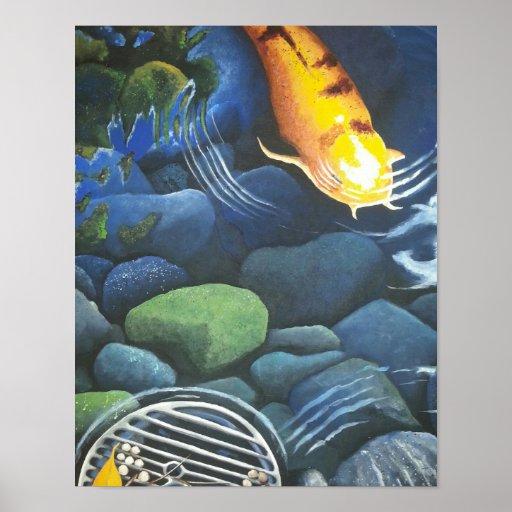 Magical koi pond poster zazzle for Koi pond gift ideas