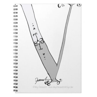 Magical Letter V from tony fernandes design Spiral Notebook