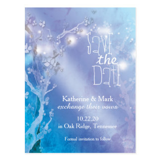 Magical Lights Blue White Wedding Save the Date Postcard