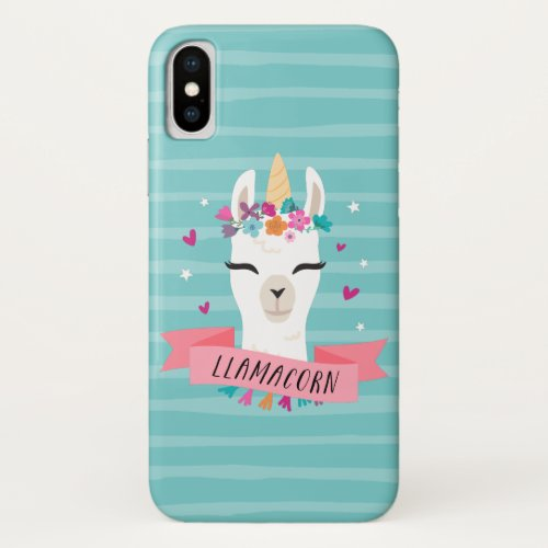 Magical Llamacorn | Kawaii Cartoon Unicorn Llama iPhone XS Case