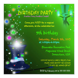 Magical Magicians Hat Birthday Party Invitation