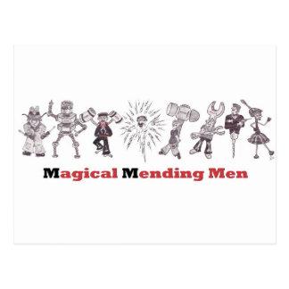 magical mending men post card