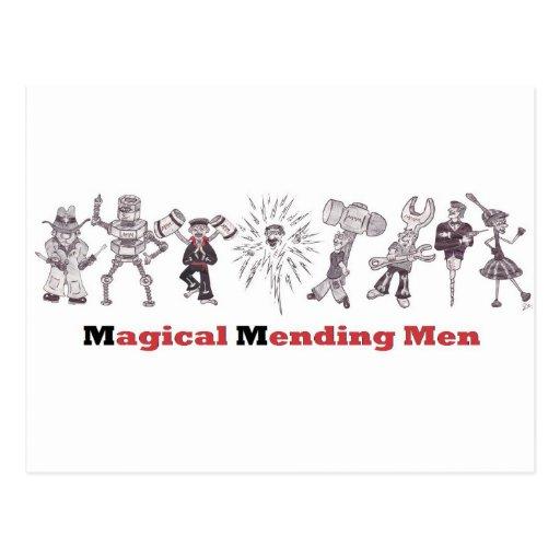 magical mending men postcard