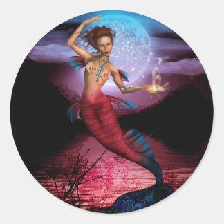 Magical Mermaid Moon Classic Round Sticker